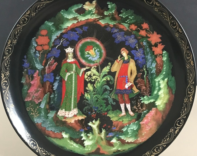 The Stone Flower Russian Legends Collector Plate w/ Certificate - Folk Tales / Fairy Tale Decor - Decorative Black Plate - 18k Gold Wall Art