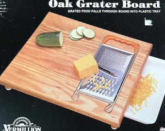 Oak Grater Cheese Board - Genuine Vermillion Wood Products Butcher's Block Style Cutting, Slicing & Grating Tool - Made In USA - Farmhouse