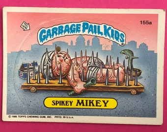 Garbage Pail Kids Sticker Card - SPIKEY MIKEY 155a - Puzzle Piece Back - 1986 Topps Trading Card - 1980's Pop Culture - 80's Funny Gag Gift
