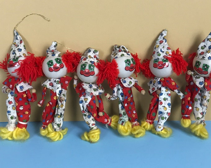6 Vintage Clown Christmas Tree Light Bulb Covers - Slightly Creepy Old Holiday Decorations - 1970's Bozo Circus Clown String Light Ornaments