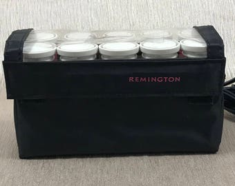 Remington Portable Hot Roller Set - Vintage Travel Size Electric Hair Rollers - 10 Pink Curlers - Retro Hair Styling - Curling - Pageants -