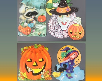 4 Real Vintage Diecut Halloween Decorations -  Raccoon, Pumpkin, Spooky Witch & Kitschy Witch - Retro Holiday Paper Window or Wall Cutouts
