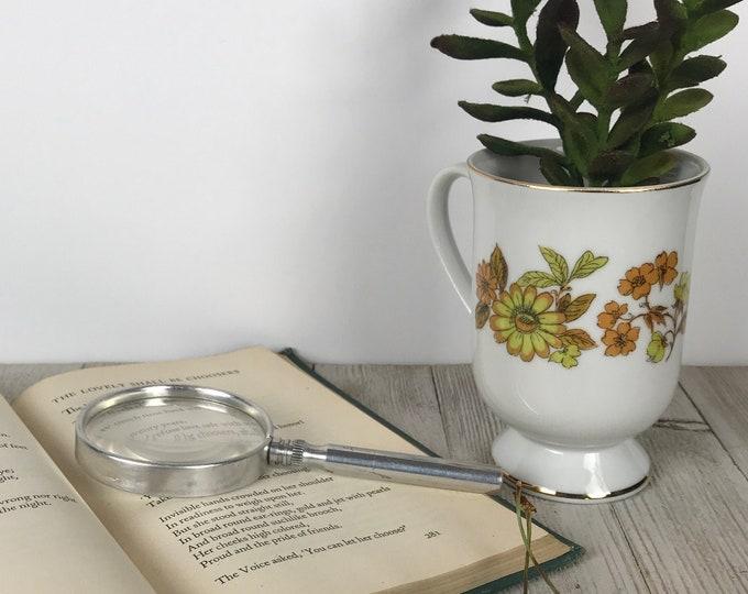 "Vintage Gold Floral Pedestal Teacup - Royal Domino Autumn Song 4.5"" Replacement Footed Tea Cup - Mini Retro Succulent / Air Plant Planter"