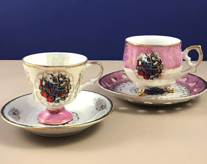 Vintage Las Vegas Souvenir Tea Cup Trio & Sugar Bowl Set - Pink 4 pc. Mid-Century China w/ Saucers - Lusterware Gold Gilt - Retro Vegas Gift
