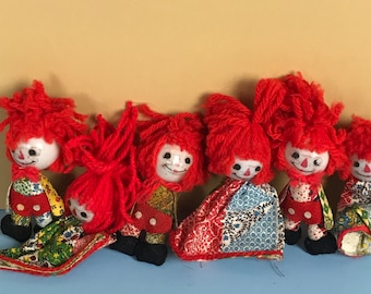 6 Vintage Raggedy Ann and Andy Christmas Tree Light Bulb Covers - Retro Rag Doll Xmas String Light Ornament Lot - Rare Toyland Holiday Decor