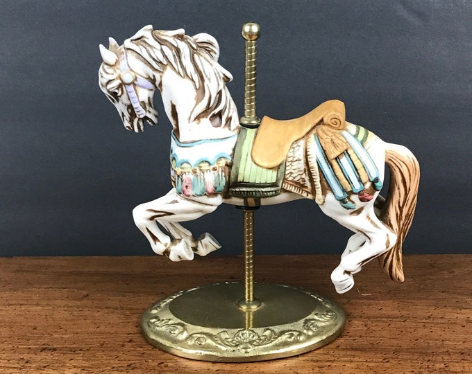 "Vintage Porcelain Bisque Carousel Horse on Brass Pole & Stand - 7"" White Stallion Statue - Baby Girls Nursery Decor - Carnival Circus Horses"