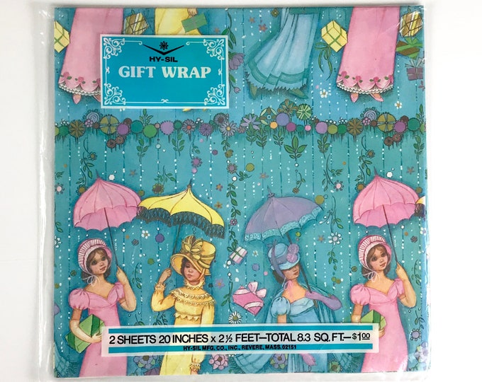 Vintage Wedding Shower / Birthday Wrapping Paper - Hy-Sil 8.3 Sq. Ft. Gift Wrap - Blue Victorian Ladies -  Paper Craft / Decoupage Supply