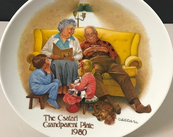 The Bedtime Story, Csatari Grandparent Collector Plate 1980- Knowles Porcelain Grandma & Grandpa 1st Issue Plate - Christmas Gifts on Sale