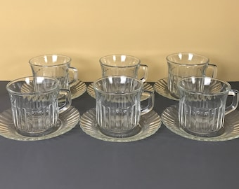 6 Awesome Retro Diner Style Clear Glass Coffee Mug and Saucer Sets - Vintage Fortecrisa Cups & Dessert Plates - 12 pc. Formal Coffee Service