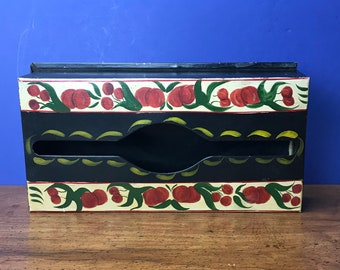 Vintage Toleware Tissue Box Hand Painted & Signed by Artist - Metal Wall Mount Napkin Holder - Pennsylvania Dutch Farmhouse Tole Decor