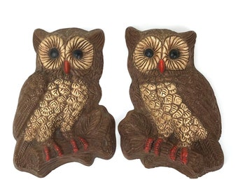 Vintage Owl Wall Plaques - Set of 2 Brown Owls - Owl Wall Art - Owl Theme - Rustic Cottage - Farmhouse Decor - Retro Cabin Chic - Owl Gifts