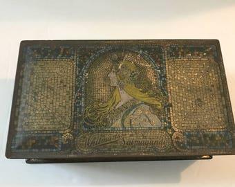 1920's Vintage Whitman Salmagundi Hinged Chocolates Tin Box - Art Nouveau / Art Decco w/ Mosaic Design Collectible Tin