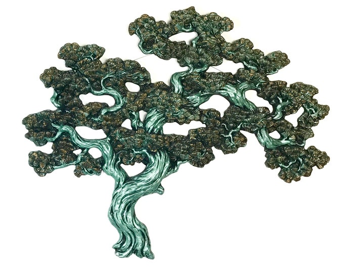 Featured listing image: Large Vintage Teal Bonsai Tree Wall Hanging - Mid Century Modern Art - MCM Turquoise Blue / Green Japanese Tree - Asian Inspired Home Decor