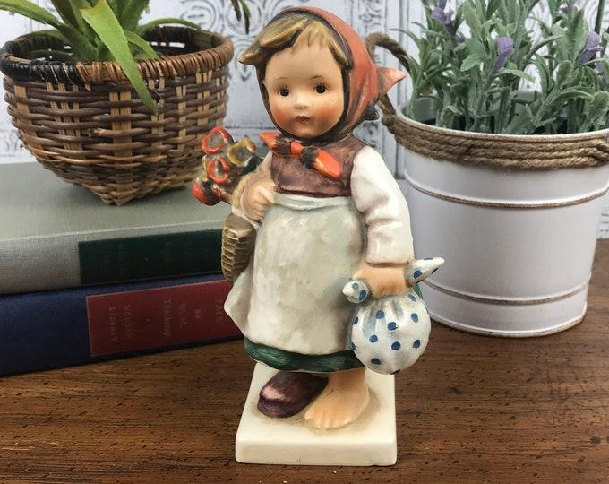 Weary Wanderer Goebel Hummel Number 204 Figurine TMK-4 Marking 1960's Era - HTF Cute Little German Girl with Flowers - Made in W. Germany