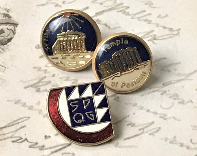 3 Greek Souvenir Enamel Pins / Buttons - Vintage Greece Lapel Pin Set - SPQG Helios Temple Poseidon  - World Traveler Tie Pin -Free Shipping