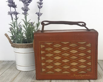 Rare 1955 New Yorker Transistor Radio - Collectible Vintage Brown Leather All-Transistor Radios - 1950's Prop for MCM Bookcase & Shelf Decor