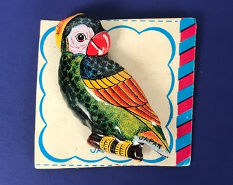 Fabulous Quirky Tin Parrot Pin - Vintage Tropical Bird Brooch - Retro 1960's Tiki Bar / Beach Party Accessories - MCM Kitsch Jewelry & Gifts