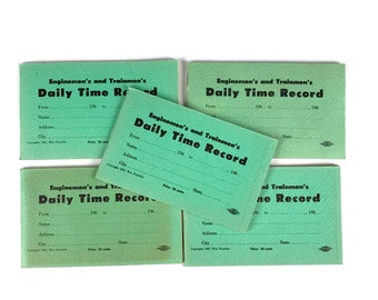 1960's Railroad Enginemen's Unused Time Books Set of 5 - Vintage Train Employee Little Mint Green Log Book - Trainmen Daily Time Record Lot