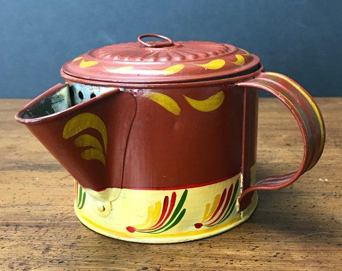 Antique Metal Tea Steeper Hand Painted & Signed by Artist - Vintage Toleware Tea Pitcher - Tole Tea Pot - Pennsylvania Dutch Farmhouse Decor