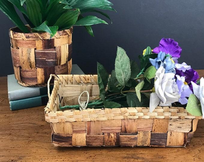 Unique Woven Wood Planter & Basket Set - Rustic Bohemian Style Home decor - Vintage Multi-Tone Wicker / Rattan Flower Pot Holder and Tray