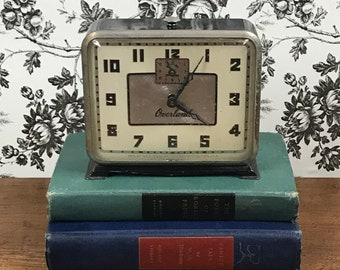 1930's Art Deco Alarm Clock For Display, Parts or Repair - Ingraham Overland Metal Clock w/ Glass Lens - Steampunk Industrial Bedroom Decor