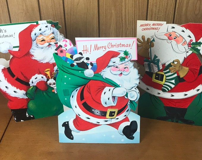 """3 Big 13"""" Stand Up Christmas Cards Flocked Die Cut Two-Sided Santa Claus - Real Vintage Used Oversized Card Set - Kitschy MCM Holiday Decor"""