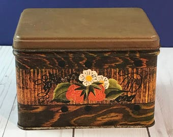 Vintage Strawberry Tin Box - J.L. Clark - Small Wood Grain Decorative Tin Can - Great for Recipes, Candy, Trinkets - 1970's Retro Decor