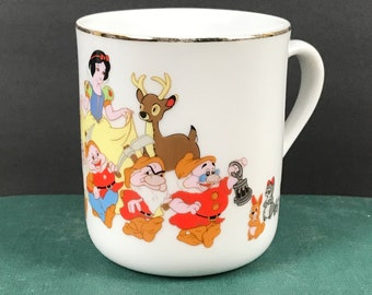 Vintage Snow White and the 7 Dwarfs Coffee Cup from Disneyland - 1970's Walt Disney Princess Movie Gold Rim Porcelain Teacup or Coffee Mug