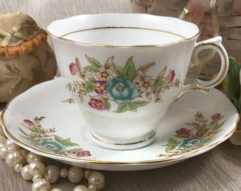 Rare Colclough Tea Cup & Saucer Set - 6635 - Blue Pink Flowers - English Bone China - England -Tea Service - Vintage Cup / Plate - Tea Party