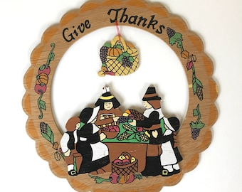 "Vintage 70's Thanksgiving Wood Cutout Hanging Wall Decoration - Kitschy Retro Pilgrim ""Give Thanks"" Cutout Board Sign - Holiday Kitsch Decor"