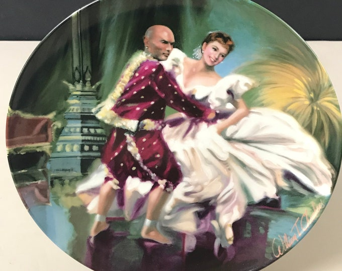 "The King and I Series Collector Plate - ""Shall We Dance?"" - William Chambers Art - Old Movie Collectible Gift - Porcelain Knowles Wall Plate"