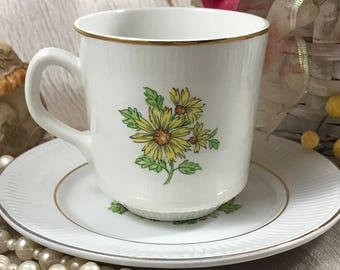 Staffordshire Tea Cup & Saucer Set - Summertime - Sunflowers - Yellow Flowers - China - Made England - Tea Service - Vintage Cup / Plate
