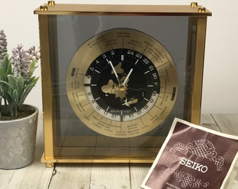 Vintage SEIKO GMT World Clock w/ Airplane Second Hand Like New - 25 Time Zone Brass & Glass Floating Mantel Clock - Gift for Globe Traveler