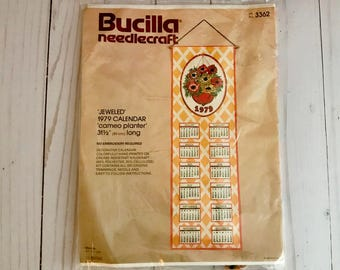 "Bucilla Needlecraft 1979 Hanging Calendar Needlepoint Sealed Kit - Jeweled Sequins - ""Cameo Planter"" Floral - Flower Basket Design - NOS NEW"