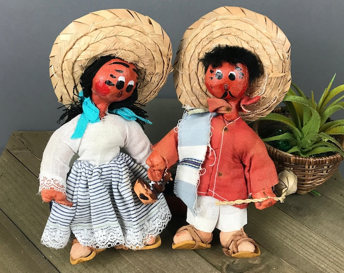Vintage Mexico Souvenir Oil Cloth Dolls - Mexican Folk Art Doll Set with Straw Sombreros - Spanish Man & Woman - Unique Couples Wedding Gift