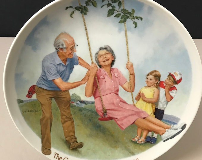 The Swinger, Csatari Grandparent Collector Plate 1983 - Knowles Porcelain Grandma & Grandpa Plate - Childhood Art - Christmas Gifts on Sale