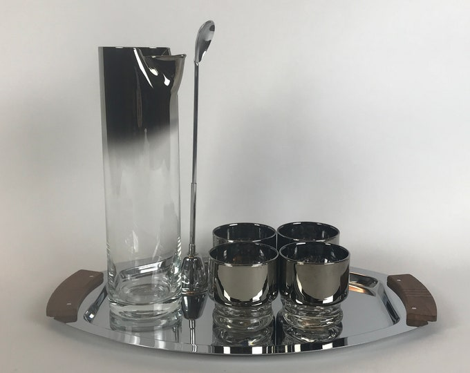 Mid-Century Silver Fade / Mercury Ombre Banded Martini Pitcher, 4 Rocks Glasses & Tall Chrome Jigger / Stirrer - Mod 1950's Mixed Drink Set