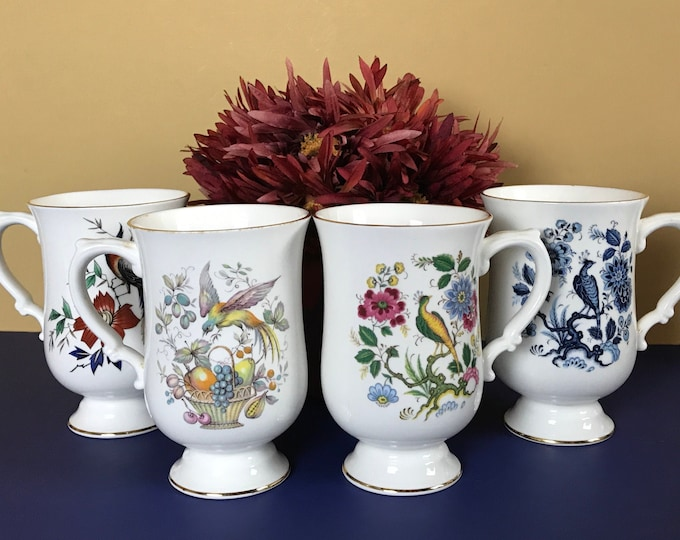 4 Vintage Birds of the World Pedestal Coffee Cups Fine Bone China Crown Staffordshire, England - Fancy Colorful Bird Footed Teacup Gift Set