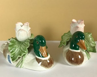 Fitz and Floyd Mallard Duck Taper Candle Holders - Vintage Country Cottage Style Mantel Shelf Decor - Log Cabin Lake House Interior Staging