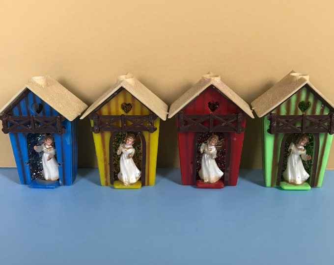 4 Vintage Christmas Tree Light Bulb Covers Angels in Birdhouses - Mid Century Retro Kitschy Plastic Xmas Ornaments Lot - Mod Holiday Staging