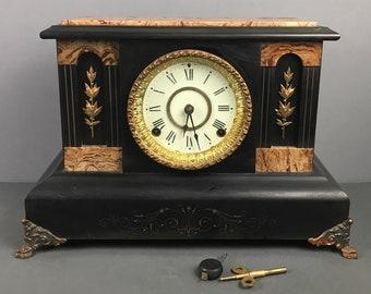 Antique 1880 Seth Thomas Adamantine Black Mantel Clock w/ Gold Laurel Leaf & Brass Feet, Key and Pendulum - Edwardian Era Wood Mantle Clock