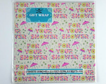 Vintage Wedding Bridal or Baby Shower Wrapping Paper - Hy-Sil 8.3 Sq. Ft. Gift Wrap - Pink Floral Umbrella -  Paper Craft / Decoupage Supply