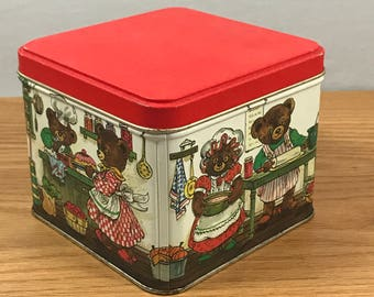 Vintage Teddy Bear Christmas Tin Box - Holiday Americana - 1960's Candy Tin- Old Tin Collectible - Christmas Decoration - Small Recipe Tin