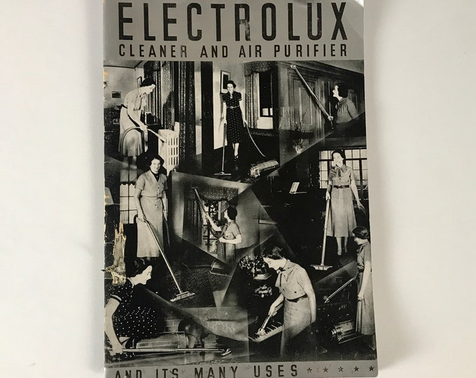 Vintage 1930's Electrolux Vacuum Cleaner User's Manual w/ Black & White Housewife Photos - Retro Photography Booklet Salesman Product Guide
