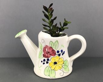 Vintage Ceramic Watering Can Planter - Italian Pottery Flower Pot - Floral Arrangement Basket - Spring Easter Garden Decor - Sprinkling Cans