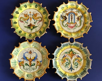 Antique Italian Raffaellesco Signed Early Salvini Majolica Plate Set Hand Painted Spiked Edge Decorative Pottery Plates Rare Florentine Art