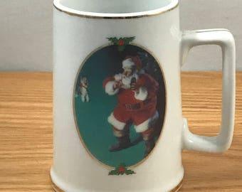 """Coca-Cola Christmas Mug - """"When Friends Drop In"""" 1996 Collectors Edition Santa Claus Cup - Haddon Sundblom - Coke Advertising - Schnauzer"""