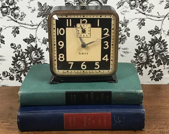 1930's Art Deco Alarm Clock - Ingraham X-Ray Clock - Wind Up Mechanical Square Bedroom Clock - Steampunk Clock Prop - Display Parts Repair