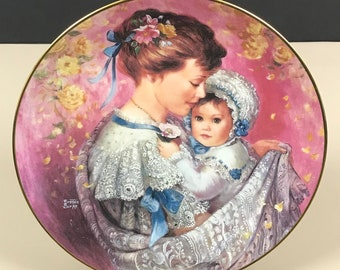 Cherished Moment Collector Plate - Artist Brenda Burke - W.S. George Mother's Day Bonds of Love Series Plate - Mom & Baby Art Decor On Sale