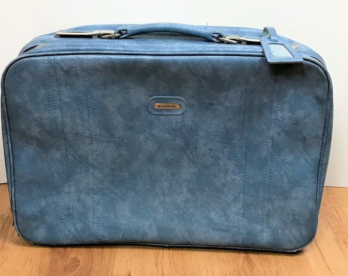 Vintage Blue Samsonite Suitcase - Baby Blue Samsonite Sonora Travel Case Faux Leather Soft Side w/ Key - Retro Blue Luggage for Traveling